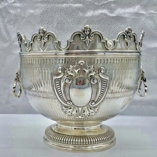 Antique Victorian Large Silver Monteith Bowl London 1890 Daniel & John Welby