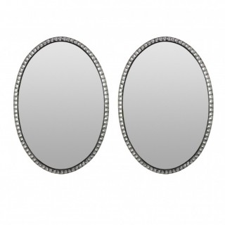 A PAIR OF GEORGIAN STYLE IRISH MIRRORS WITH ROCK CRYSTAL FACETED BORDER