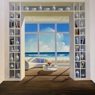 Bookshelf with View