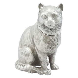 Sterling Silver Cat Shaker - Antique Victorian (1876)