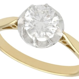 1.07ct Diamond and 18ct Yellow Gold Solitaire Ring - Antique Circa 1920