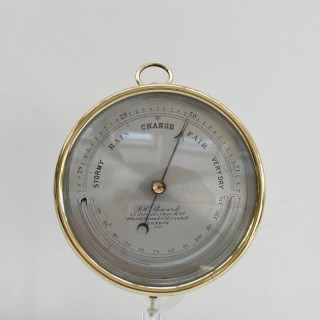Mid Victorian Brass Aneroid Barometer by JH Steward of London