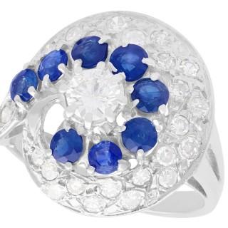 1.05ct Sapphire and 1.45ct Diamond, 18ct White Gold Dress Ring - Vintage Circa 1950