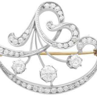 2.25ct Diamond and 12ct Yellow Gold Brooch - Antique Circa 1890
