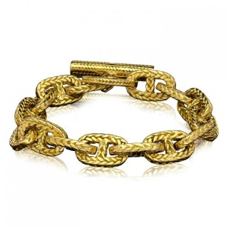 Vintage 18ct Gold Braided 'Chaine D'Ancre Tresse' Chain Bracelet Toggle Clasp