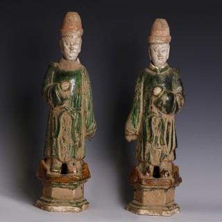 A Pair of Chinese Ming Sancai Glazed Court Attendants