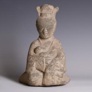 Eastern Han Terracotta Kneeling Wet Nurse Figurine