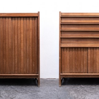 Pair of oak cabinets by Guillerme et Chambron