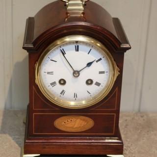 Small Mahogany & Inlay Mantel Clock