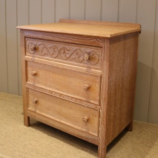 Small Limed Oak Chest Of Drawers