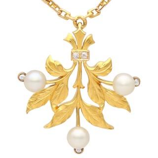 Pearl, Diamond and 21ct Yellow Gold Pendant - Antique Circa 1890