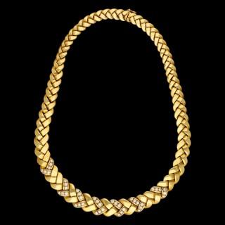 Van Cleef & Arpels Classic 18ct Gold Collar Necklace Woven Design Diamond Detail