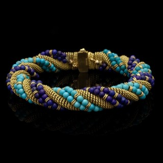 Bulgari Unusual Turquoise, Lapis Lazuli and Woven Gold Bracelet Circa 1960's