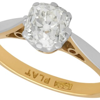 1.23 ct Diamond and 18 ct Yellow Gold Solitaire Ring - Antique Circa 1910