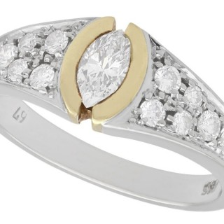 0.72ct Diamond and 14ct White Gold Dress Ring - Vintage Circa 1990