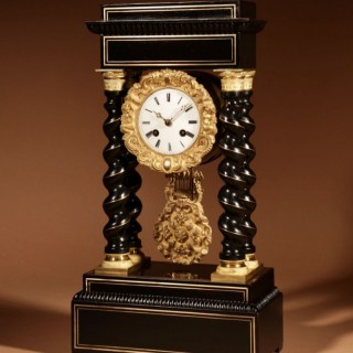 An Original Ebonised and Brass Inlaid  French Portico Clock circa:1870