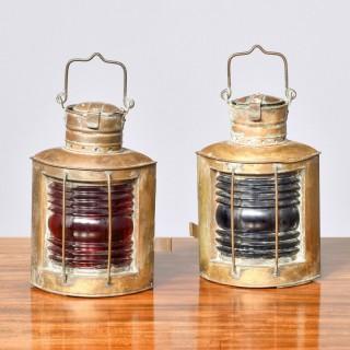 Pair of original Victorian brass ship lanterns