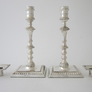 Antique Victorian Sterling Silver Candlesticks - 1891