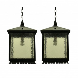 A PAIR OF SQUARE WROUGHT IRON LANTERNS