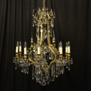 French Gilded Bronze & Crystal Antique Chandelier