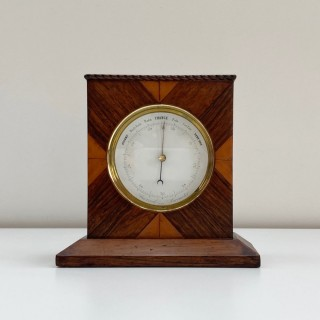 Early Victorian Aneroid Barometer in Display Case by Francis West of The Strand London