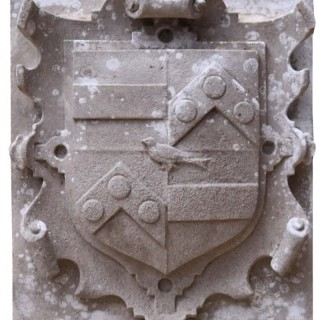 An Antique English Carved Stone Armorial Plaque
