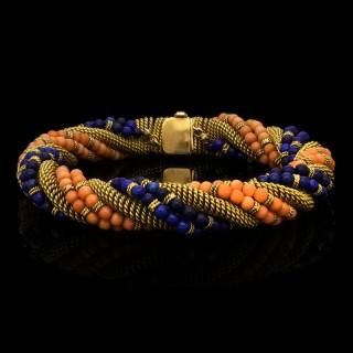 Bulgari Unusual Lapis Lazuli Coral and Woven Gold Bracelet Circa 1960's