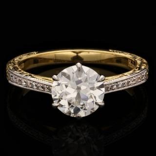 Hancocks 1.42ct Old European Brilliant Cut Diamond Gold Ring Diamond Set Band