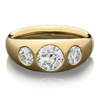 Hancocks  Old Cut Diamond Gypsy-Set Three Stone and18ct Gold Ring Contemporary