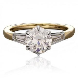Hancocks 1.58ct Old European Brilliant Cut Diamond Ring Tapered Shoulders