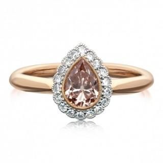 Hancocks 0.71ct Fancy Orangy Pink Colour Old Cut Pear Shape Diamond Halo Ring