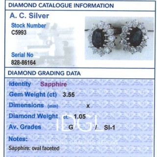 3.55ct Sapphire and 1.05ct Diamond, 14ct White Gold Cluster Earrings - Vintage Circa 1970