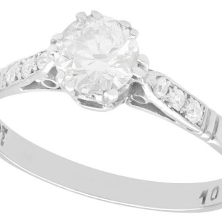 0.67ct Diamond and 18ct White Gold Solitaire Ring - Antique Circa 1925