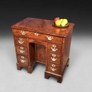 George II Burr Walnut Kneehole Desk