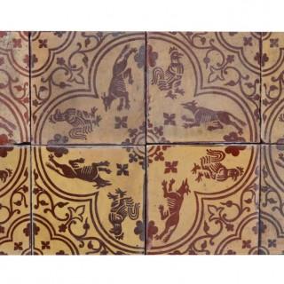 A Set of 12 Antique Medieval Style Encaustic Tiles