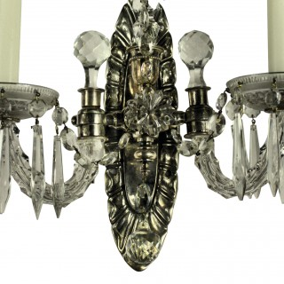 A PAIR OF SILVER & CUT GLASS TWIN BRANCH WALL LIGHTS