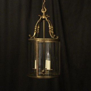 French Gilded Brass Triple Light Antique Lantern