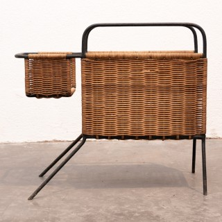 Raoul Guys metal and rattan canine inspired magazine holder