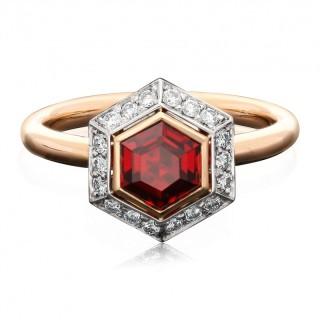 Hancocks 0.92ct Vivid Red Burmese Spinel Ring with Diamond Surround Rose Gold