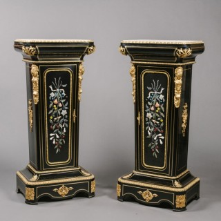 A Pair of Napoleon III Gilt-Bronze and Hardstone-Mounted Ebonised Pedestal-Cabinets