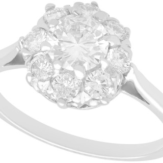 1.14 ct Diamond and Platinum Cluster Ring - Vintage Circa 1940