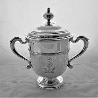 Quality crested Queen Anne Britannia silver cup and cover London 1711 John Rand