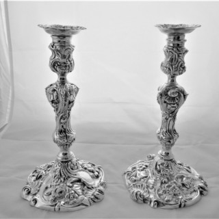 Superb quality pair of heavy George II silver rococo candlesticks London 1743 WS