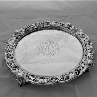 Superb cast bordered armorial George II silver salver London 1752 Thomas Gilpin