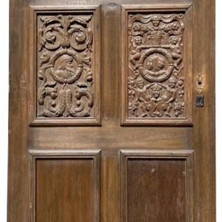 An Antique English Jacobean Style Oak Door