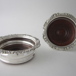 Antique Edwardian Sterling Silver Wine Coasters - 1913/4