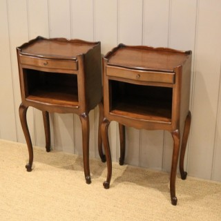 Pair Of French Cherry Wood Bedside Cabinets