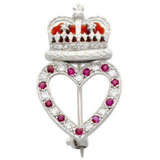 0.22ct Ruby and 0.30ct Diamond, Enamel and 9 ct White Gold Brooch - Vintage 1955