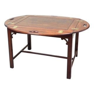 Georgian Mahogany Oval Butlers Tray On Stand