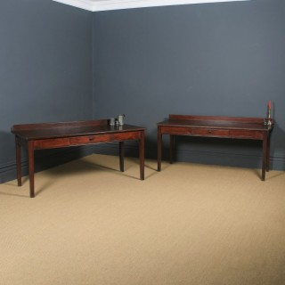 Antique English Georgian Regency Pair of 6ft Pine Scullery Kitchen Serving Tables (Circa 1820)